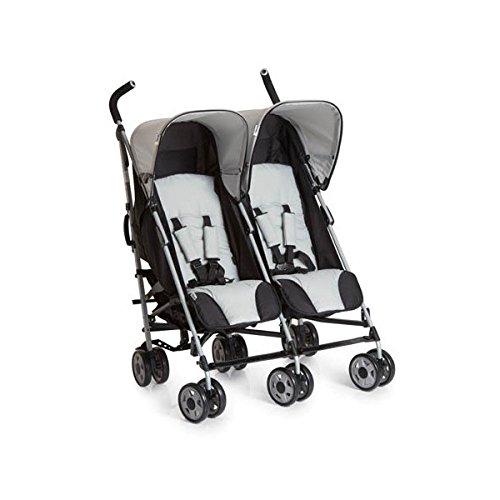 Hauck Turbo Duo - Silla gemelar para gemelos y hermanos de 0 meses hasta 15 kg, sistema de arnés de 5 puntos, ancho 75 cm, ancho asiento 2 x 29 cm, plegable, ruedas desmontables, color gris y negro
