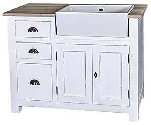 Meuble sous évier 2 portes 1 étagère 3 tiroirs plateau zinc 118x65x90 cm pour évier de 57x43x20 cm - meuble personnalisable