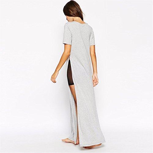 Les Nouvelles Femmes Gris A Manches Courtes Lettre Side Fente Haute De Split Slim Long T-Shirt Tops Gris