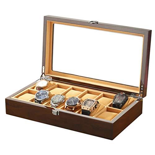 SuRose Watch Box Organizer Kissenbezug - 12 Slot Premium-Vitrinen mit gerahmter Metallschließe für Männer und Frauen (Für Vitrine Männer Watch)