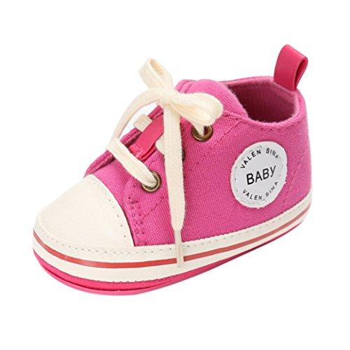 Hunpta Criança Jovem Manjedoura Recém-nascidos Macios Sola Anti-derrapante Bebê Sapatas De Lona Das Sapatilhas Rosa Quente
