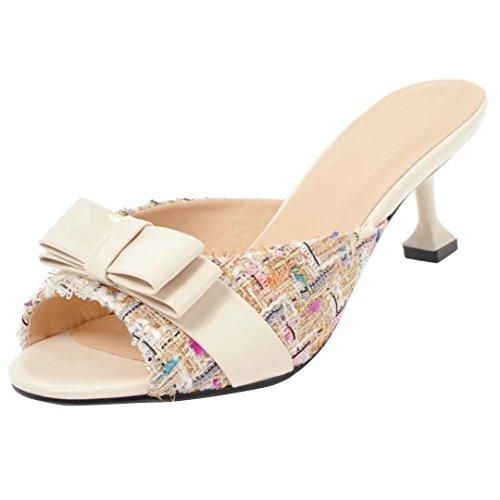 AIYOUMEI Damen High Heels Pantoffeln mit Schleifen Peep Toe Slingback Sandalen Slipper -