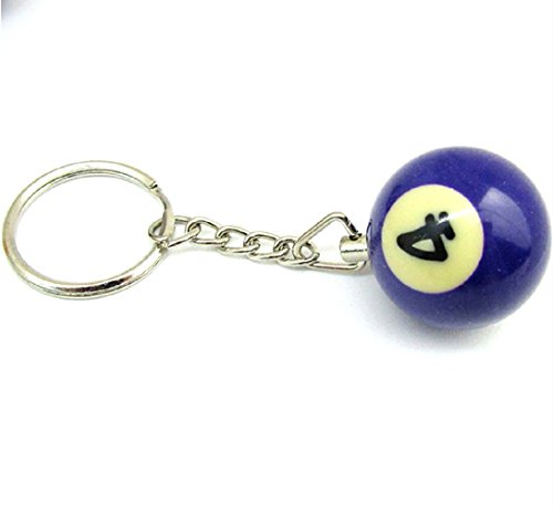 (NR 4) Billiard Ball Key Chain With Number A Pool Choice Billiards Gift  Idea Men's Unisex
