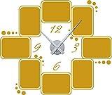 GRAZDesign 800572_SI_820 Wandtattoo Wanduhr Rahmen Bilderrahmen Uhr für Wohnzimmer Kreise Zahlen Zeit (68x57cm//820 mustard//Uhrwerk silber)