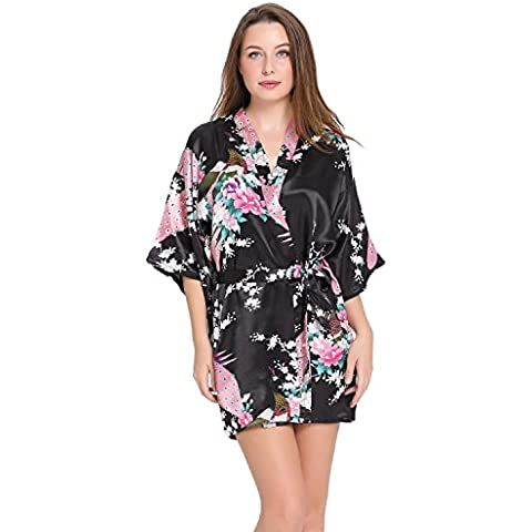Aibrou Pijama lencería kimono corto de satén de estampado floral para mujer