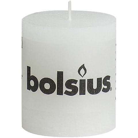 Bolsius - Vela cilíndrica de parafina, rústico, tamaño 8 cm, color blanco