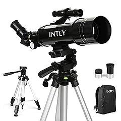 Idea Regalo - INTEY F40070M Telescopio Astronomico - l'Oculare Achromat di Kellner K25mm e K6mm, Telescopio Rifrazione, Treppiede in Alluminio Regolabile (50~120cm), con Zaino, Adatti a Principianti Dilettanti