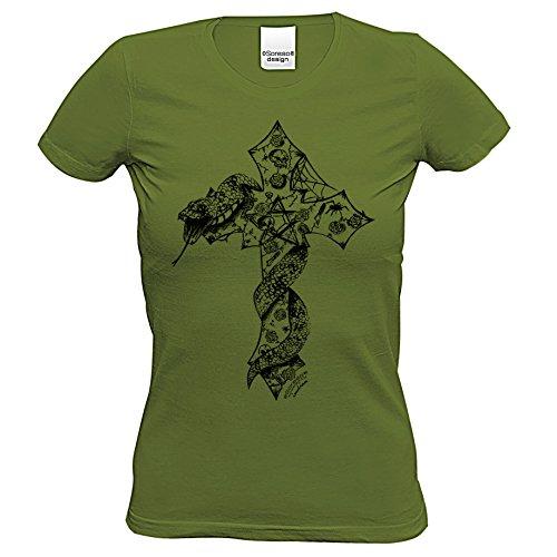 z Schlange : Skull Biker Freizeit Shirt für Frauen Mädchen : Halloween Outfit Farbe: Khaki Gr: L (Biker Halloween Kostüme Mädchen)