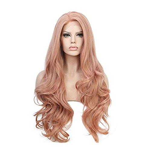 F-blue Rosa-Lange Welle lockige Perücke europäische Art-Spitze-Front-Glueless Natürlicher Haarstrich High Density-Fälschungs-Haar für Frauen - Europäische Spitze Perücke