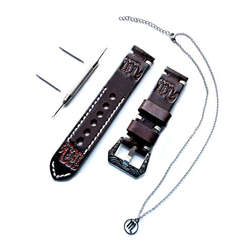 Scorpio Zodiac Set Genuine Brown Leather 22mm Tooled Embossed Crafted Band Strap Bracelet Watch Kit for Watches and 25
