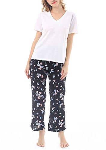 yulee-femme-pyjama-manches-courtes-coton-ete-floral-2-piece-haut-pantalon