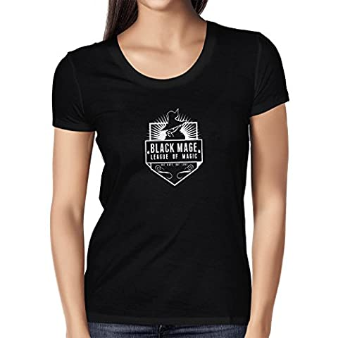 NERDO - Black Mage League of Magic - Damen T-Shirt, Größe XL, schwarz (Final Fantasy X-2 Internationale Kostüme)