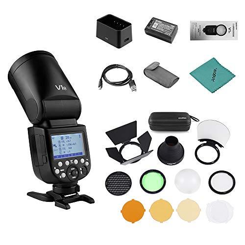 Godox V1N Professionelles Blitzgerät Speedlite für Nikon D5300 D750 D850 D7100 Z7Kameras Rundkopf Wireless 2,4G Fresnel Zoom + Godox AK-R1...