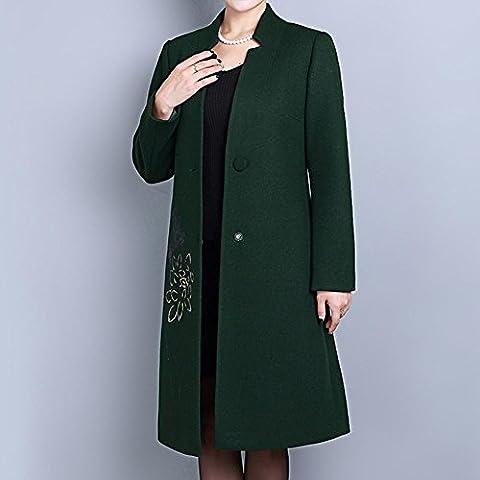 Bolsillo de temperamento más abrigo de lana largo de tamaño de las mujeres , green , l
