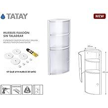 TATAY 4480101 - Armario de baño rinconero vertical en PP, 20 x 20 x 62,5 cm, apto para sistema de fijación Glu&Fix armarios, color glacé