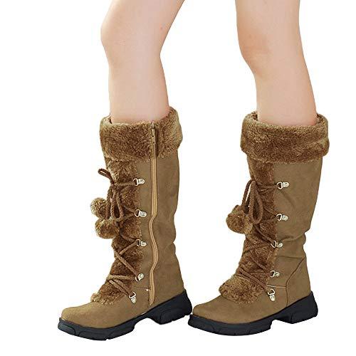 TianWlio Stiefel Frauen Winter Warm Halten Schlüpfen Schneestiefel Weihnachten Damen Haarballen Runde Kappe Quadratische Ferse Schuhe Halten Sie Warme Reißverschluss Schneestiefel