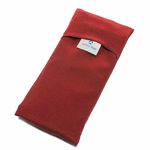 Cuscino da occhi »Balu« in seta imbottito con semi di lino / lavanda; seta biologico, piacevolmente morbido / 20 x 9 cm / disponibile in colori bellissimi / Rosso Rubino