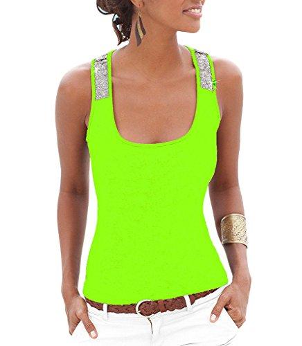 Smile YKK Modern Damen Sommer Hot Tank Top Jumper Pullover T-Shirt Oberteile Basic Top Shirt Stretch Slim Fit Grün