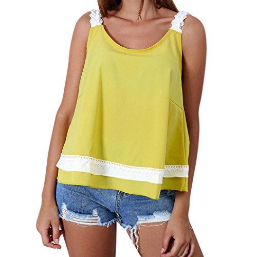 OSYARD Damen Sommer Mode Spitze Bogen ärmellose Bluse Top T-Shirt(EU 42/M, Gelb)