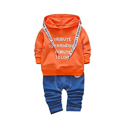 Baby Kapuzenpullover Mantel Hirolan Kleinkind Junge Mädchen Lange Hülse Outfits Kinder Mit Kapuze Beschriftung T-Shirt Baby Tops Hose 1-3Jahre Kleider Set (100cm, (Jungen Kleinkind Kostüme Niedliche)