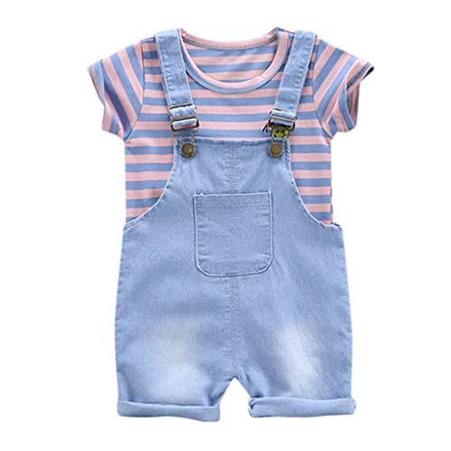 aiyvi Baby Jungen Mädchen Bekleidungssets, 6 Monate zu 4 Jahre Kleinkind Baby Jungen Mädchen Streifen T-Shirt Oberseiten Hosenträger Hosen 2pcs Kleidungs Set Sommer Nette Casual Bequem