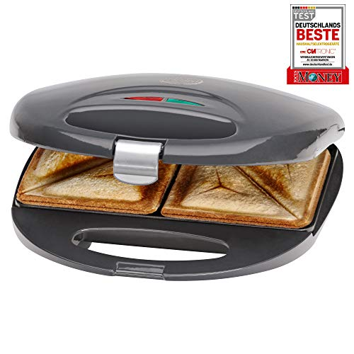 Clatronic ST 3477 Sandwich-Toaster mit Antihaftbeschichtung und Überhitzungsschutz, grau