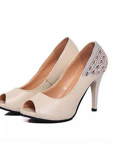 WSS 2016 Chaussures Femme-Soirée & Evénement-Noir / Beige-Talon Cône-Talons-Talons-Polyester beige-us6.5-7 / eu37 / uk4.5-5 / cn37