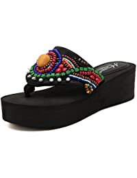 Sandalias para Mujer Zapatillas Sandalias de Estilo étnico Hechas a Mano de Verano y Zapatillas Zapatillas de...