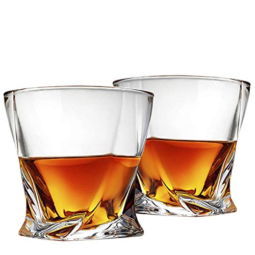Cooko Twist Whisky Gläser, Ultra-Clarity Glas Set, Spülmaschinenfest, Wein Geschenke, 2er Set (300ML / 10.6 oz)