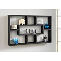 spot on dealz Stylish And Attractive Space Saving Multi-Compartment Wall Shelf/Shelves Display Unit (Black)