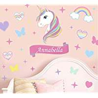 Personalised Colourful Unicorn & Stars Wall Art Vinyl Printed Stickers