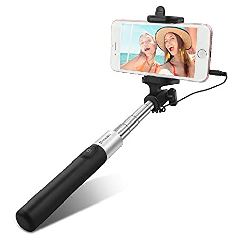 Selfie Stick, Coolreall One-piece U-shape Clamp Folding Self-portrait Extendable Monopod Telescopic foldable Handheld Adjustable Phone Holder with Built-in Remote Control Wired Shutter.[No Battery No Bluetooth].Compatible With iPhone 6 6s plus 5 5s 5c se,Samsung Galaxy s7 s6 etc,