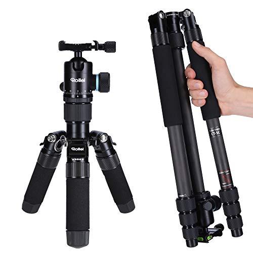 Rollei Carbon Stativ CT-5C I 3-in-1 Kamera-Stativ, Mini-Stativ und Monopod I 157 cm max. Höhe, 43 cm Packmaß, Makro-Funktion, Panorama-Kugelkopf