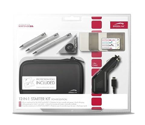 Speedlink - Starter Kit 12-en-1 pour Nintendo N3DS/NDSI (Chargeur de Voiture, Sacoche, Stylets Tactiles, Film Protecteur, Housses pour Jeux, Chiffon Microfibres) Noir