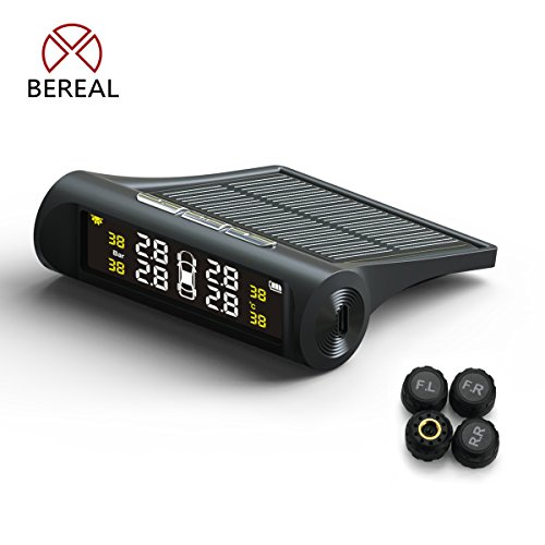 Be Real Reifendruckkontrollsystem Auto TPMS Reifendruck Kontrollsystem Reifendruckmesser mit intern Solarzelle,4 Externe Sensoren, LCD Display (Reifendruck und Temperatur anzeigen) für Auto, SUV, KFZ