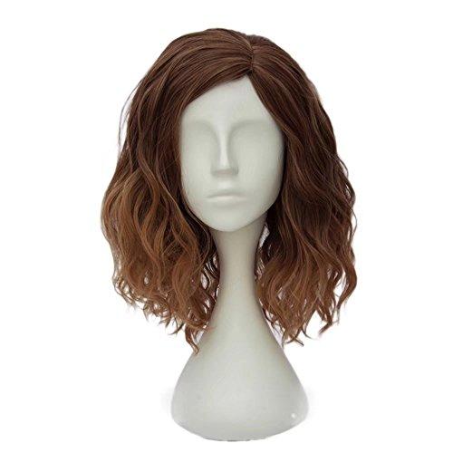 ches(35CM) Kurz Lockig Lolita Party Dame Cosplay Hair Full Wig Perücke (Gemischt Braun) (Kurze Lockige Perücken)
