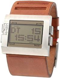 e5b3cb216dca Levi s L022GU1 - Reloj digital de caballero de cuarzo con correa de piel  marrón (alarma