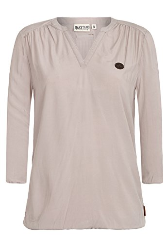 Iii Short Sleeve Shirt (Naketano Female Shortsleeve Diese Motzfotz III Taupe Grey, L)