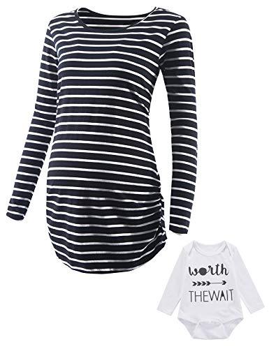 Damen Umstands-T-Shirt, kurzärmelig, seitlich gerüscht, gestreift, 2 Stück - - XX-Large - 100% Baumwolle Womens Tee