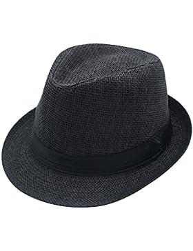 JEDAGX Panama Style Summer Beach Sun Jazz Cap Unisex Adulto Sun Hat Color s¨®lido Elegant Straw Jazz Cap Suave...
