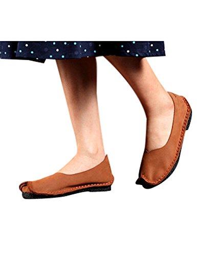 Youlee Damen Handgefertigt Leder Flache Schuhe Braun