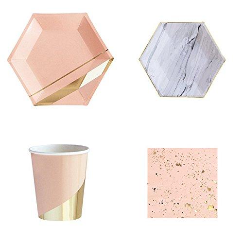 Gold blockierender Party Geschirr, Einweg Papier Geschirr-Set für -
