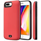 Fey-EU Cover Batteria per iPhone 6 Plus/6s Plus/7 Plus/8 Plus,8000mAh Custodia Ricaricabile Esterna Batteria Carica batterie Cover Battery Case per iPhone 8 Plus/7 Plus/6s Plus/6 Plus [5,5''],Rosso
