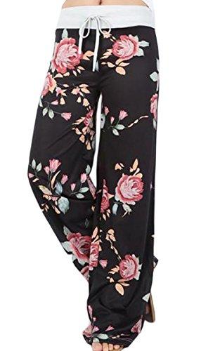Angashion Damen Blumenmuster Weite Bein Lange Hose, Schwarz, EU S(34)
