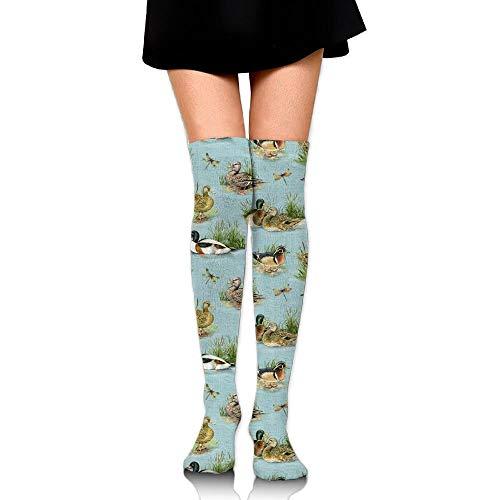 Kailey hello Cute Mallard Duck Womens Socks Thigh High Long Socks Running Socks (Open Toe Thigh High Socks)