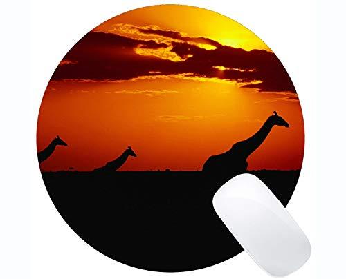 Tapis de Souris Gaming, Girafe au Coucher du Soleil Tapis de Souris Bordure Cousu