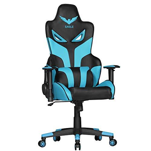FineBuy Design Schreibtischstuhl Kunstleder Schwarz/Blau Bürostuhl 120kg | Gamer Stuhl ergonomisch | Gaming Chair mit Liegefunktion | Racer Drehstuhl mit Kissen | Chefsessel Bürosessel