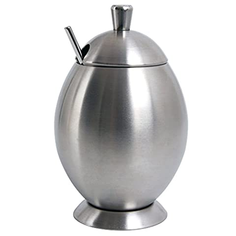 Ivoku Stainless Steel Coffee Sugar Bowl with Lid and Sugar Spoon for Home Kitchen Condiments Container (14oz/400ml)