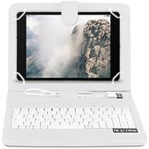 OME® Funda con teclado Tablet 8 pulgadas con conexión MicroUsb-OTG (Blanco)