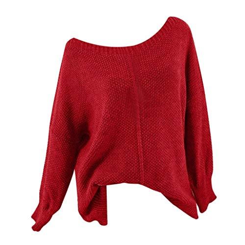 Maleya Frauen gestrickt tiefem O-Ausschnitt Langarm Wrap vorne lose Pullover Pullover Bluse Winter Faux Coat Pullover Tops Bluse langes T-Shirt Plus Größe Wasserdicht Kapuzenpulli Langarm Pullover -